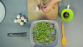 Το θηλυκό χέρι κόβει το κόκκινο κρεμμύδι με ένα μαχαίρι απόθεμα βίντεο
