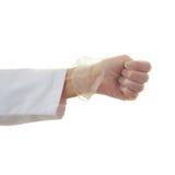 Το θηλυκό γιατρών παραδίδει απομονωμένο το λευκό υπόβαθρο Στοκ Εικόνα