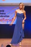 Το θηλυκό πρότυπο αριθμού στο φόρεμα βραδιού παρουσιάζει καλύτερό της Στοκ Εικόνες
