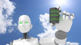 Το θηλυκό ρομπότ παρουσιάζει τον πράσινο καμμένος κεντρικό υπολογιστή ελεύθερη απεικόνιση δικαιώματος