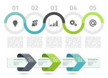 Το διάγραμμα και τα βέλη διαδικασίας Infographic με επιταχύνουν τις επιλογές δρύινο διάνυσμα προτύπων κορδελλών φύλλων δαφνών συν Στοκ Εικόνες