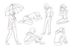 Το διάνυσμα απομόνωσε τον καθορισμένο σκίτσων έφηβο κοριτσιών απεικόνισης λυπημένο Νέα γυναίκα στην κατάθλιψη που φωνάζει, που κα διανυσματική απεικόνιση
