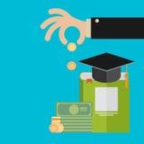 Το διάνυσμα επενδύει στην έννοια εκπαίδευσης στο επίπεδο ύφος - σωρός του νομίσματος Στοκ Εικόνες