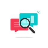 Το διάνυσμα ερευνητικών εικονιδίων στατιστικών, στοιχεία ανάλυσης, που αναλύει τις πληροφορίες συνομιλίας, εξερευνά απεικόνιση αποθεμάτων