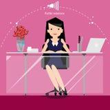 Το διάνυσμα ο επιχειρηματίας σκέφτεται την εργασία στον ευρύ κόσμο με τους χώρους εργασίας και την μπροστινή άποψη εγγράφου Στοκ Εικόνες