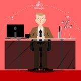 Το διάνυσμα ο διευθυντής επιχειρηματιών σκέφτεται την εργασία στον ευρύ κόσμο με τους χώρους εργασίας και την μπροστινή άποψη εγγ Στοκ Εικόνα