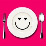 Το διάνυσμα του προσώπου αγάπης επισύρει την προσοχή στο άσπρο πιάτο Στοκ φωτογραφία με δικαίωμα ελεύθερης χρήσης