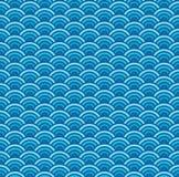Το διάνυσμα χρωμάτισε το γεωμετρικό άνευ ραφής σχέδιο με τα κύματα θάλασσας διανυσματική απεικόνιση