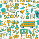 Το διάνυσμα doodle έθεσε με τα σχολικά στοιχεία Στοκ Φωτογραφία
