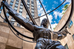 Το διάσημο άγαλμα του άτλαντα στην πόλη της Νέας Υόρκης Στοκ εικόνα με δικαίωμα ελεύθερης χρήσης