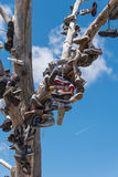 Το διάσημο δέντρο παπουτσιών tamarisk κοντά σε Amboy στη διαδρομή 66 στοκ φωτογραφία με δικαίωμα ελεύθερης χρήσης