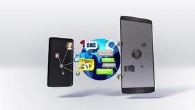 Το διαιρεμένο έξυπνο τηλέφωνο, κινητό, εξηγεί στη διάφορη κοινωνική υπηρεσία Διαδικτύου δικτύων συμπεριλαμβανόμενη άλφα ελεύθερη απεικόνιση δικαιώματος