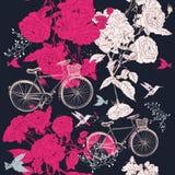 Το διανυσματικό άνευ ραφής σχέδιο ή σώζει την κάρτα ημερομηνίας με το ποδήλατο Στοκ Εικόνες