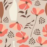 Το διανυσματικό άνευ ραφής σχέδιο με τα floral στοιχεία, άνοιξη ανθίζει, παπαρούνες και βάζα Στοκ Εικόνα