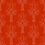 Το διανυσματικό άνευ ραφής σχέδιο με τους αστακούς ή οι αστακοί σκιαγραφεί στο άσπρο χρώμα στο κόκκινο υπόβαθρο Στοκ Φωτογραφία