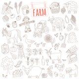 Το διανυσματικό αγρόκτημα doodle έθεσε Στοκ Φωτογραφία