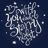 Το διανυσματικό απόσπασμα αγάπης εγγραφής χεριών - να είστε με σας κάθε έναστρη νύχτα - περιέβαλε τα αστέρια Στοκ Εικόνες