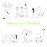 Το διανυσματικό αστείο στρατόπεδο doodles έθεσε Στοκ Φωτογραφία