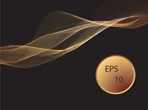 Το διανυσματικό αφηρημένο λαμπρό στοιχείο σχεδίου κυμάτων χρώματος χρυσό με ακτινοβολεί επίδραση στο σκοτεινό υπόβαθρο Στοκ φωτογραφία με δικαίωμα ελεύθερης χρήσης