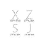 Το διανυσματικό αφηρημένο εικονίδιο συμβόλων επιστολών αλφάβητου logotype έθεσε για το λογότυπο γραφικό και το σχέδιο Ιστού Στοκ Εικόνες