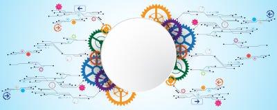 Το διανυσματικό αφηρημένο υπόβαθρο παρουσιάζει την καινοτομία της τεχνολογίας και των εννοιών τεχνολογίας Στοκ εικόνες με δικαίωμα ελεύθερης χρήσης