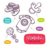 Το διανυσματικό εικονίδιο τέχνης γραμμών που τίθεται με τα προϊόντα μωρών για τα νεογνά απομονώνει διανυσματική απεικόνιση