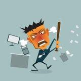 Το διανυσματικό επιχειρησιακό άτομο κινούμενων σχεδίων τρελαίνεται στο γραφείο ελεύθερη απεικόνιση δικαιώματος