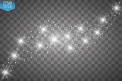 Το διανυσματικό λευκό ακτινοβολεί απεικόνιση κυμάτων Άσπρα λαμπιρίζοντας μόρια ιχνών σκόνης αστεριών που απομονώνονται στο διαφαν απεικόνιση αποθεμάτων