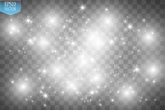 Το διανυσματικό λευκό ακτινοβολεί απεικόνιση κυμάτων Άσπρα λαμπιρίζοντας μόρια ιχνών σκόνης αστεριών στο διαφανές υπόβαθρο Στοκ Φωτογραφίες