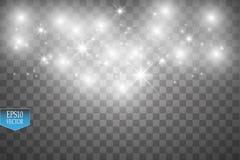Το διανυσματικό λευκό ακτινοβολεί απεικόνιση κυμάτων Άσπρα λαμπιρίζοντας μόρια ιχνών σκόνης αστεριών στο διαφανές υπόβαθρο Στοκ Εικόνες