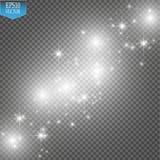 Το διανυσματικό λευκό ακτινοβολεί απεικόνιση κυμάτων Άσπρα λαμπιρίζοντας μόρια ιχνών σκόνης αστεριών που απομονώνονται στο διαφαν Στοκ Εικόνες