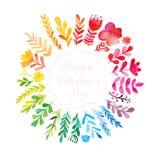 Το διανυσματικό ζωηρόχρωμο κυκλικό floral στεφάνι watercolor με το καλοκαίρι ανθίζει και κεντρικό άσπρο διάστημα αντιγράφων για τ διανυσματική απεικόνιση