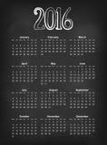 Το διανυσματικό ημερολόγιο του 2016 στις μαύρες εβδομάδες ημερολογιακού πλέγματος της Ευρώπης πινάκων κιμωλίας αρχίζει τη Δευτέρα Στοκ Φωτογραφία