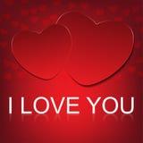 Το διανυσματικό ι σας αγαπά στο αφηρημένο υπόβαθρο καρδιών Στοκ Εικόνα