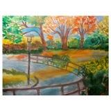 Το διανυσματικό πάρκο φθινοπώρου τοπίων watercolor απεικόνισης αφήνει τα κίτρινα πορτοκαλιά δέντρα Impressionism Στοκ Φωτογραφία