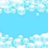 Το διανυσματικό σαπούνι βράζει μπλε υπόβαθρο εμβλημάτων διανυσματική απεικόνιση