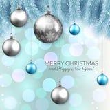Το διανυσματικό σχέδιο καρτών Χριστουγέννων, τα λαμπρά μπιχλιμπίδια και το έλατο διακλαδίζονται στο υπόβαθρο bokeh Στοκ Εικόνες