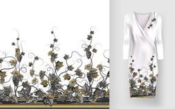 Το διανυσματικό σχέδιο των αμπέλων με τα φύλλα και τα μούρα στις κλασικές γυναίκες ` s ντύνουν το πρότυπο ελεύθερη απεικόνιση δικαιώματος