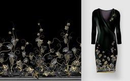 Το διανυσματικό σχέδιο των αμπέλων με τα φύλλα και τα μούρα στις κλασικές γυναίκες ` s ντύνουν το πρότυπο διανυσματική απεικόνιση