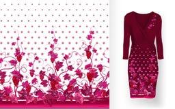 Το διανυσματικό σχέδιο των αμπέλων με τα φύλλα και τα μούρα στις κλασικές γυναίκες ` s ντύνουν το πρότυπο Στοκ Εικόνες