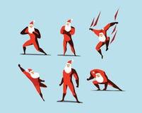 Το διανυσματικό σύνολο απεικόνισης ενεργειών Superhero Άγιος Βασίλης, διαφορετικό θέτει Στοκ Εικόνες
