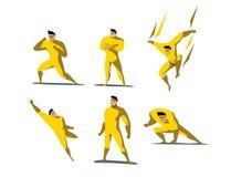 Το διανυσματικό σύνολο απεικόνισης ενεργειών Superhero, διαφορετικό θέτει Στοκ εικόνες με δικαίωμα ελεύθερης χρήσης