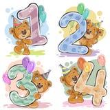 Το διανυσματικό σύνολο αριθμών με μια διασκέδαση teddy αντέχει ελεύθερη απεικόνιση δικαιώματος