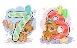 Το διανυσματικό σύνολο αριθμών με μια διασκέδαση teddy αντέχει Στοκ Εικόνα