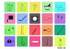 Το διανυσματικό σύνολο εικονιδίων εργαστηρίων επιστήμης, χημικά εικονίδια έθεσε, χημικό εργαστήριο, χημικά γυαλικά Διανυσματική α Στοκ Φωτογραφία