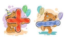 Το διανυσματικό σύνολο μαθηματικών συμβόλων συν και μείον με μια διασκέδαση teddy αντέχει απεικόνιση αποθεμάτων