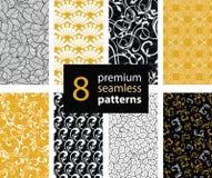 Το διανυσματικό σύνολο μαύρου, άσπρου και χρυσού κίτρινου αφηρημένου καθιερώνοντος τη μόδα άνευ ραφής επαναλαμβάνει τα σχέδια Μεγ ελεύθερη απεικόνιση δικαιώματος