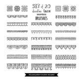 Το διανυσματικό σύνολο 20 doodles δένει τις άνευ ραφής βούρτσες Στοκ φωτογραφίες με δικαίωμα ελεύθερης χρήσης