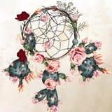 Το διανυσματικό υπόβαθρο boho Grunge με το ινδικό dreamcatcher και αυξήθηκε Στοκ φωτογραφία με δικαίωμα ελεύθερης χρήσης