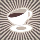 Το διανυσματικό φλυτζάνι καφέ ή τσαγιού και τα λωρίδες, ακτίνες, ακτίνες στον καφετή καφέ, αρμέγουν τα άσπρα χρώματα Στοκ Φωτογραφίες